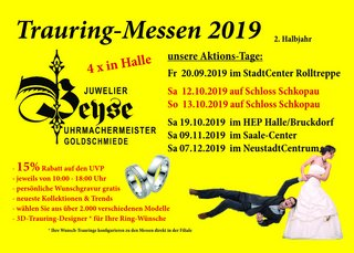 Trauringmessen 2019, 2. Halbjahr – Juwelier Beyse Halle (Saale)